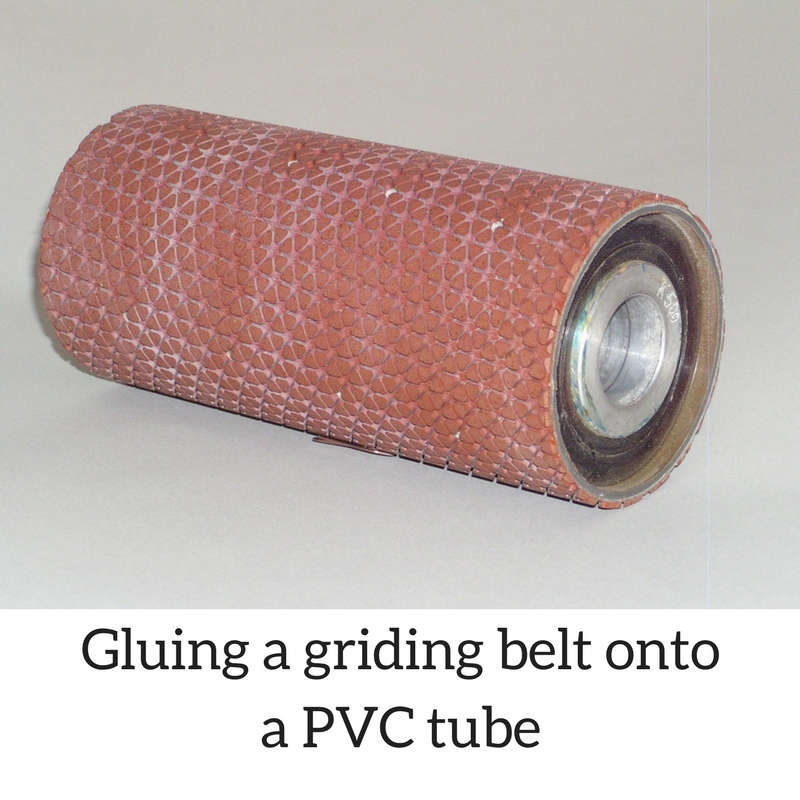 Gluing a griding belt onto a PVC tube with Super Glue