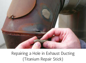 High Temperature Metal Exhaust Duct being patched with Titanium Epoxy Repair Stick