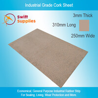 Industrial Cork Sheet (Rubber Bonded) 3mm x  250mm x 310mm