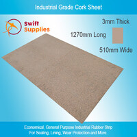 Industrial Cork Sheet (Rubber Bonded) 3mm x  510mm x 1270mm