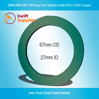 GKT,  20NB ANSI  300 / 600  Ring Face Gasket, 3mm Conafi Gasket Fibre