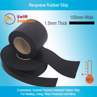 Neoprene Rubber Strip 1.5mm Thick x 100mm Wide (Per Metre, Black, 60 Duro)