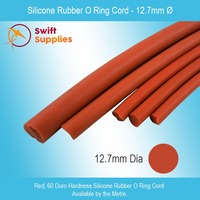 Silicone Rubber O Ring Cord 12.7mm Diameter (Red, 60 Duro, Per Metre)