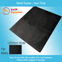 Nitrile Rubber Sheet (Black)  3mm Thick x 1200mm Wide (60 Duro, Per Metre)