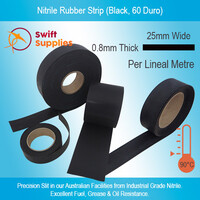 Nitrile Rubber Strip 0.8mm Thick x  25mm Wide, Black (Per Metre)