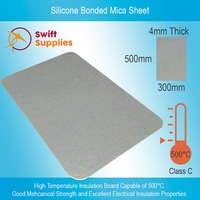 Silicone Bonded Mica Sheet  4mm Thick x  300mm X 500mm