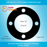 GKT,  15NB Table D & E  BS3063 Full Face Gasket, 3mm Potable Water EPDM