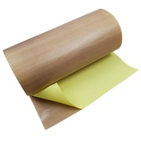 PTFE Coated Glass Fabric - Adhesive Backed - 0.15mm Thick x 1000mm Wide (Per Metre)