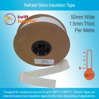 Refrasil Silica Insulation Tape - 1.5mm Thick x 50mm Wide (Per Metre)