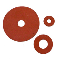 Red Silicone Washers - 1.6mm Thick, 34mm OD