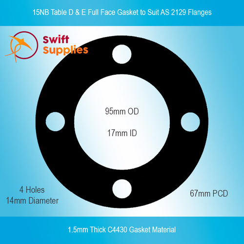 15NB Table D & E (AS 2129) Full Face Gasket, 1.5mm C4430